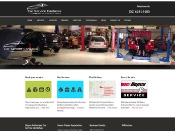 Image of Car Service Canberra Website Homepage - Price, Quality and Integrity at Your Web Presence Website