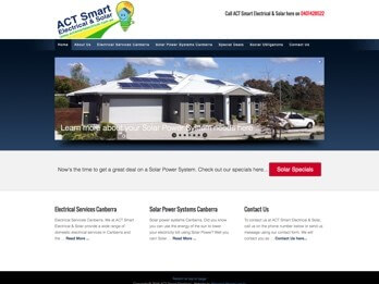 Image of ACT Smart Electrical and Solar Website