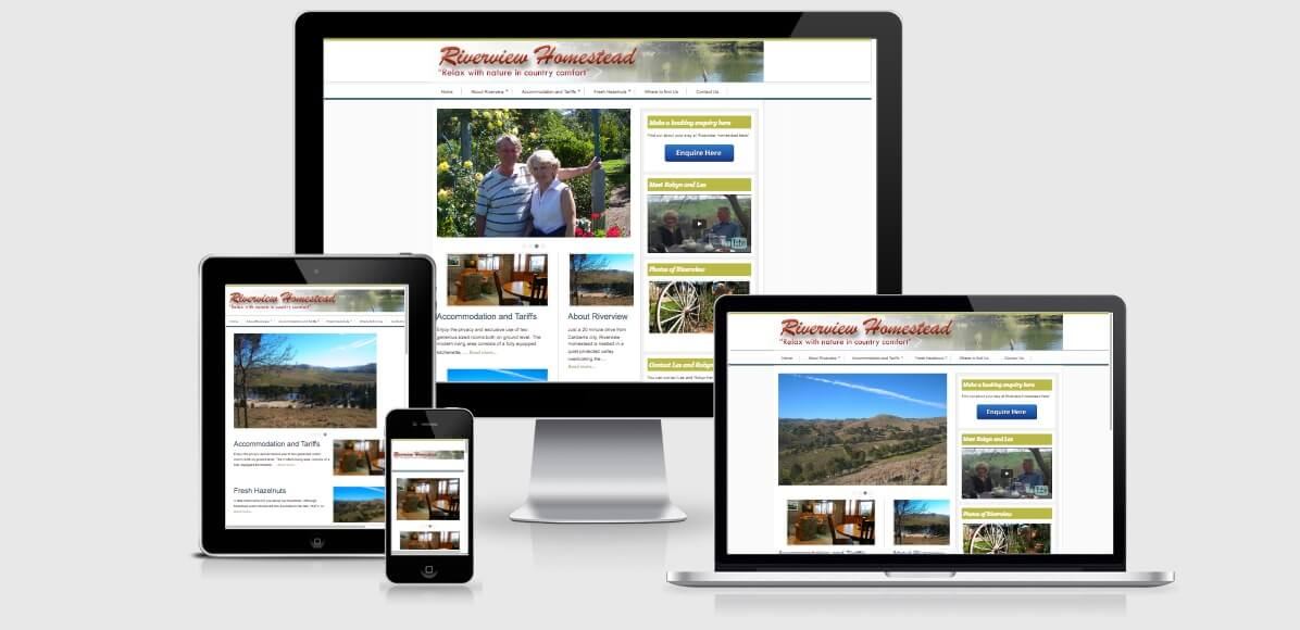 Image of the Riverview Homestead Website